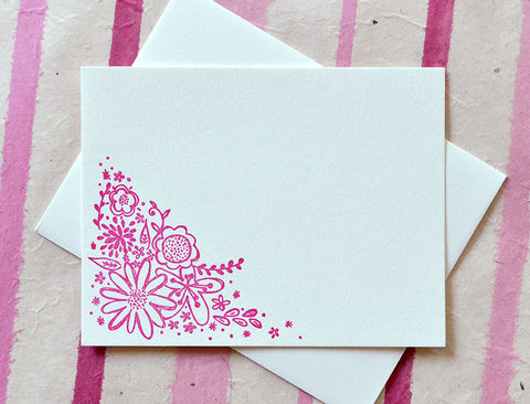 Copy of Floral Doodle Magenta Letterpress Note Card