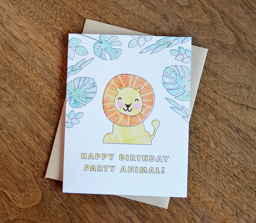 lion happy birthday party animal greeting card