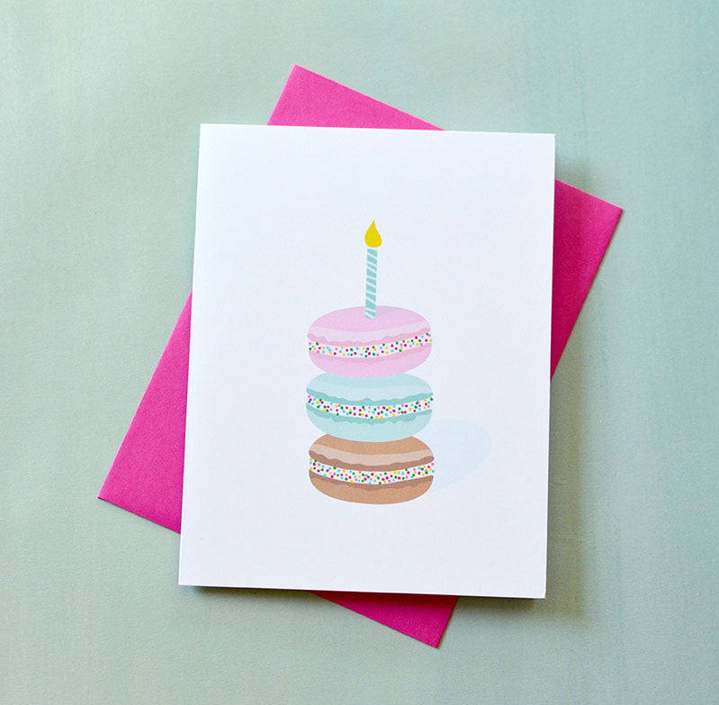 macaron sprinkles birthday candle card