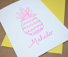 Letterpress Neon Pink Pineapple Mahalo Greeting Card