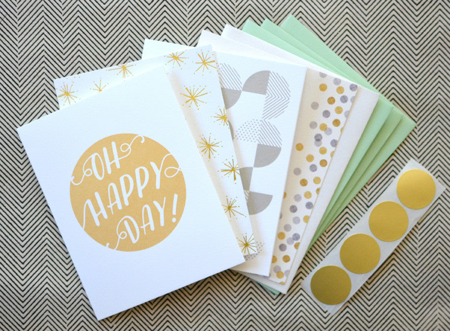 Mint Gold Greeting Card Notecard