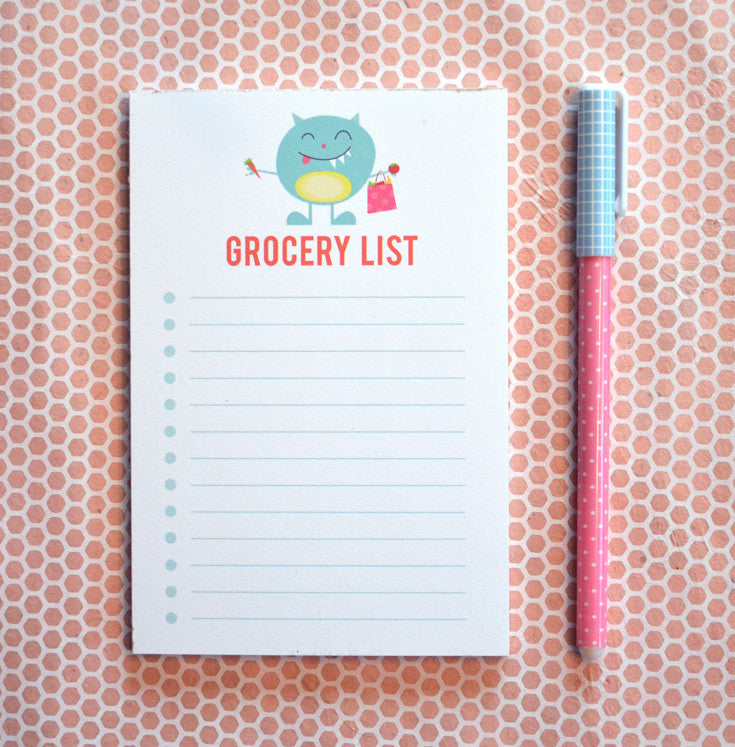 Cute Monster Grocery List notepad note pad