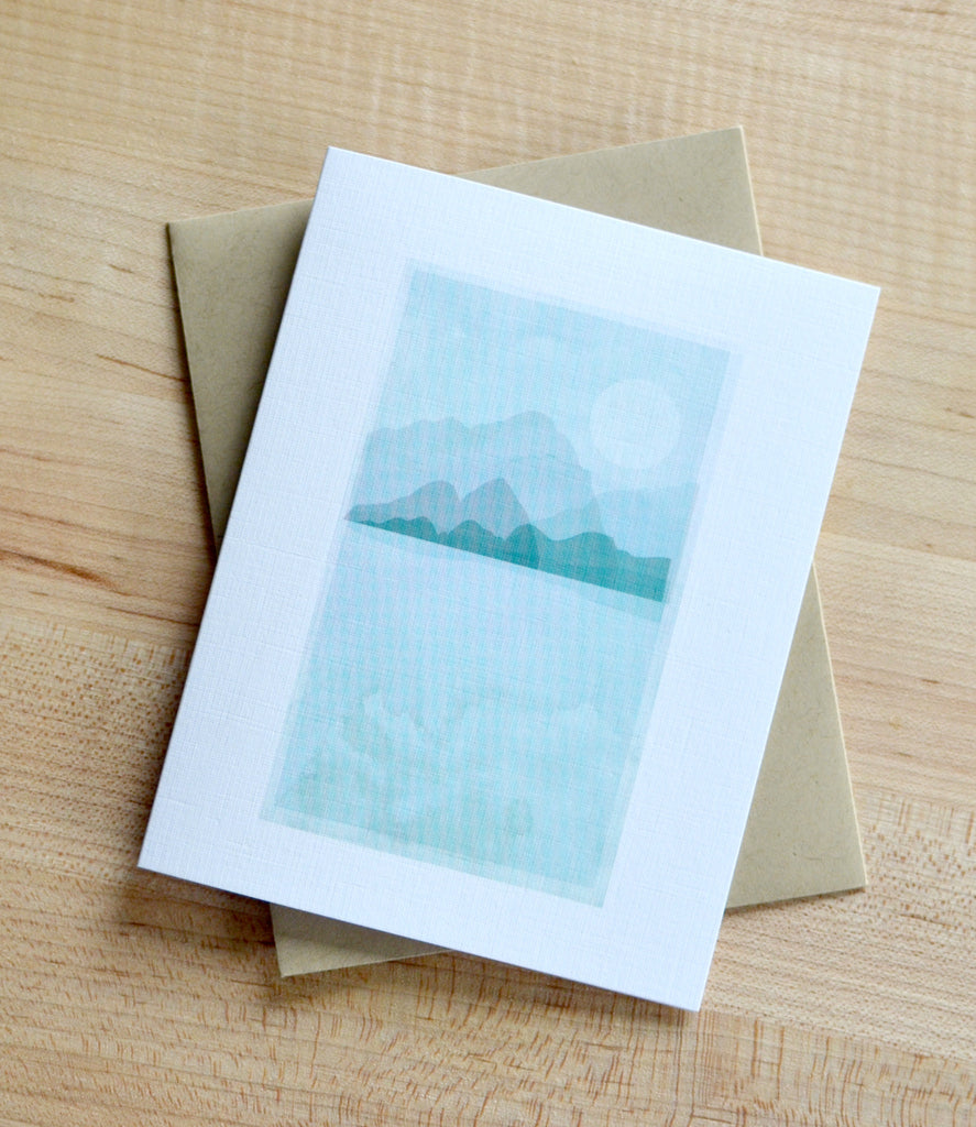 mountains and moon pennie post watercolor card