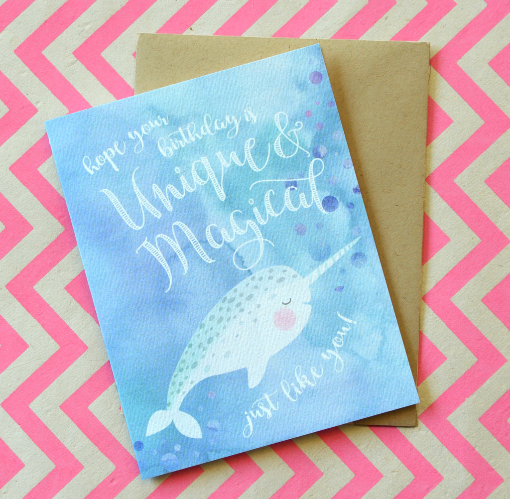 narwhal birthday watercolor greeting card