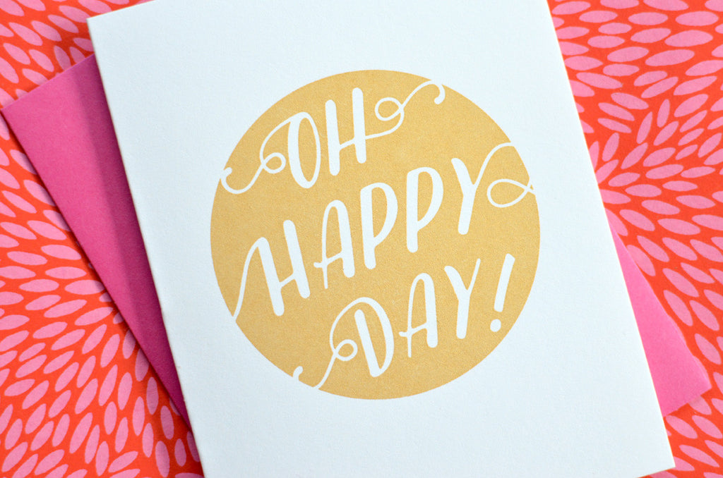 happy day congratulations birthday gold silkscreen metallic greeting card