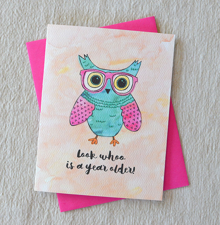 owl watercolor birthday glasses card