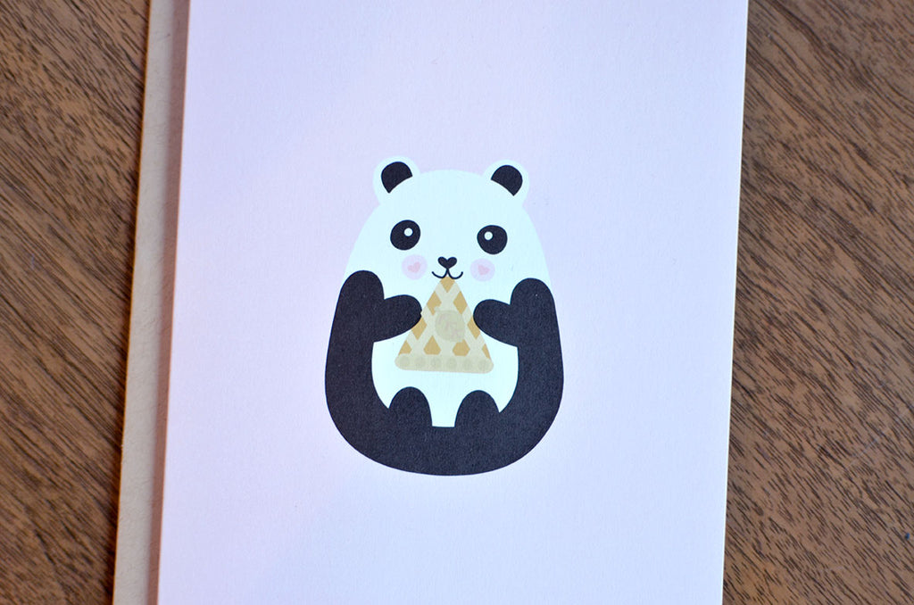 kawaii chubby cute panda pie card