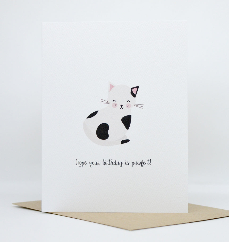 Pawfect Birthday Spotted Cat Kitten Card