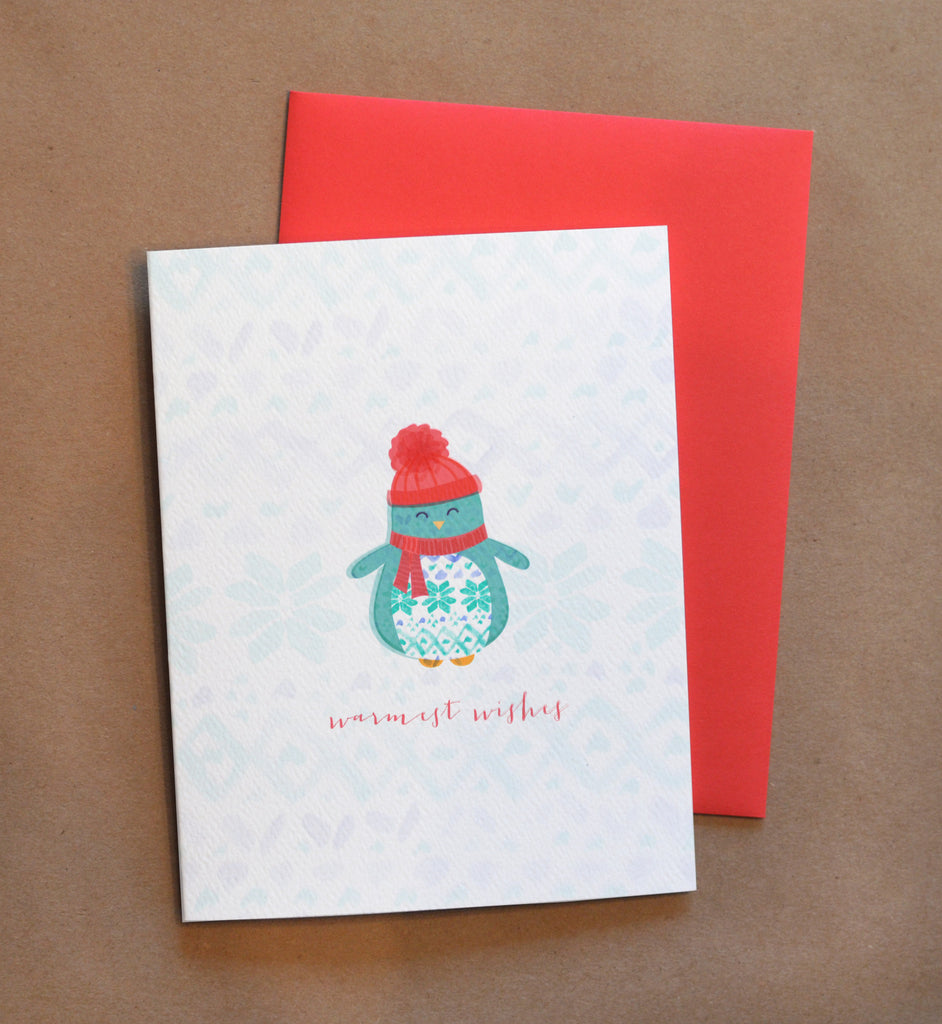 Warmest Wishes Penguin Holiday Card