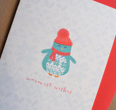 Warmest Wishes Penguin Holiday Greeting Card
