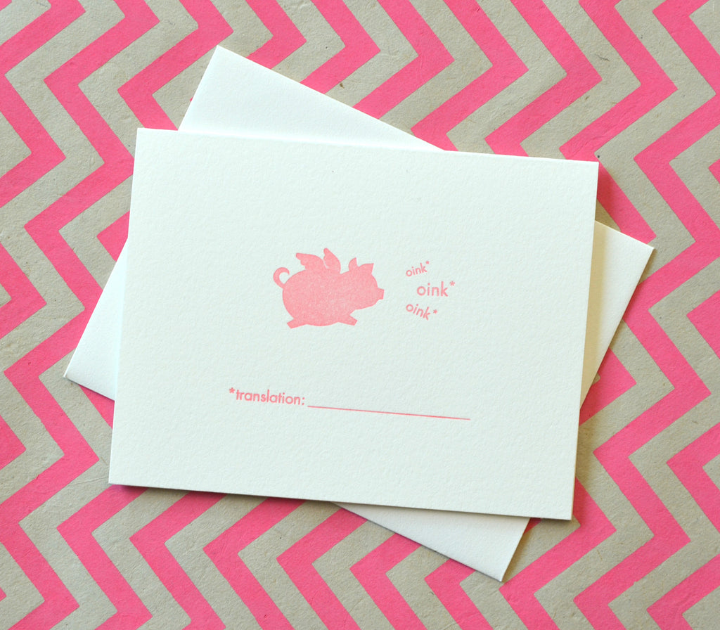 when pigs fly fill in the blank letterpress card oink