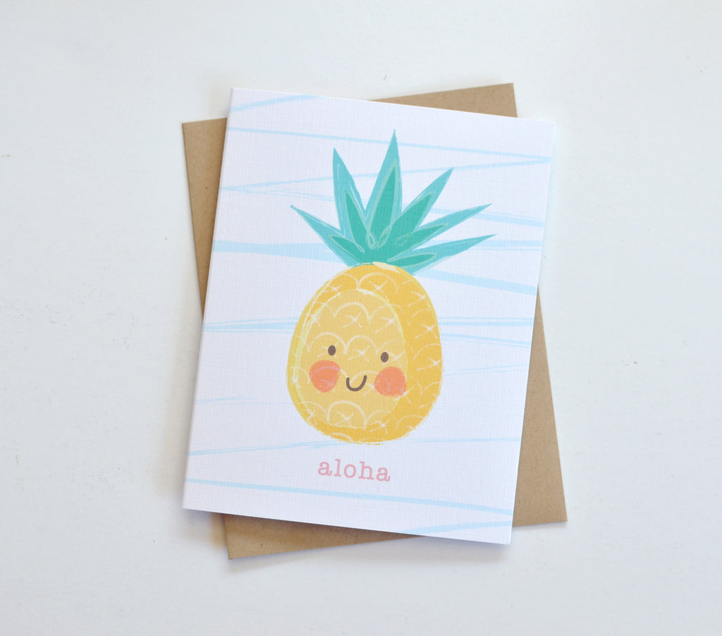 aloha pineapple hawaiian kawaii cute card