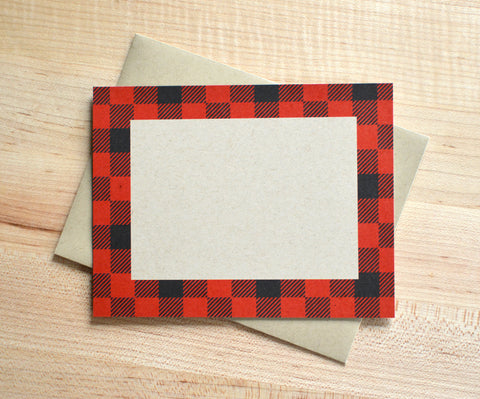 Kraft Buffalo Plaid Note Cards
