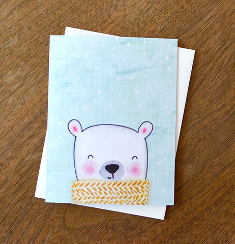 Polar Bear Scarf Holiday Card