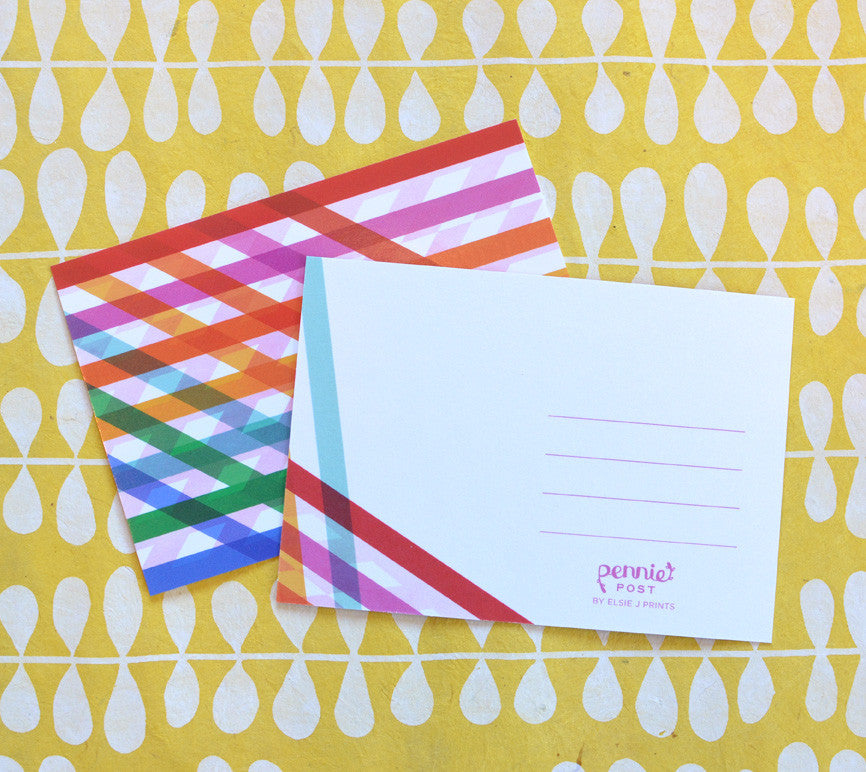 rainbow bright striped postcards