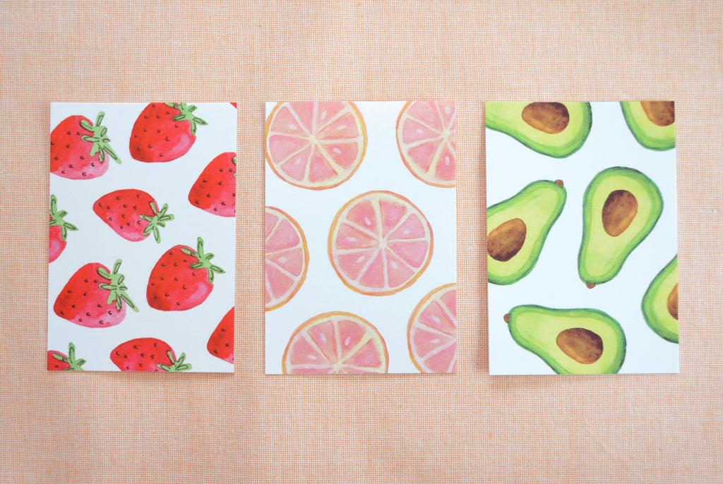 fruit and vegetable postcard set