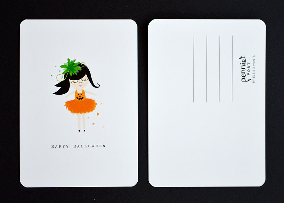 Happy Halloween Pumpkin Girl Costume Postcard