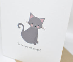 purrfect grey gray cat kitten love card