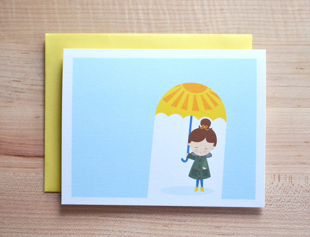 rainy day girl umbrella card