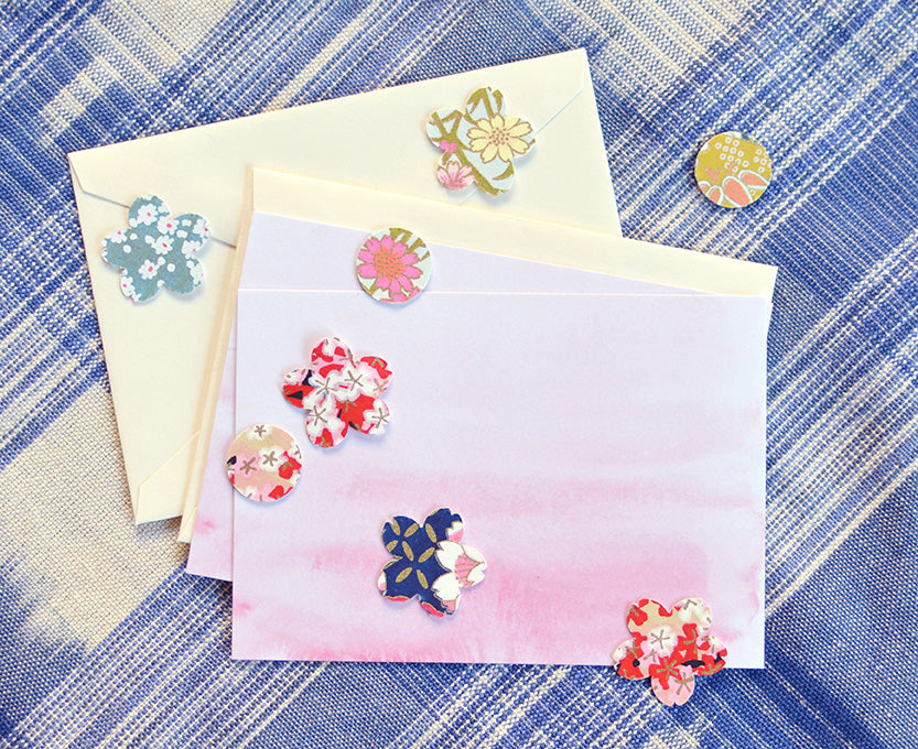 Set of DIY Pink Watercolor Notecards & Chiyogami Paper Stickers