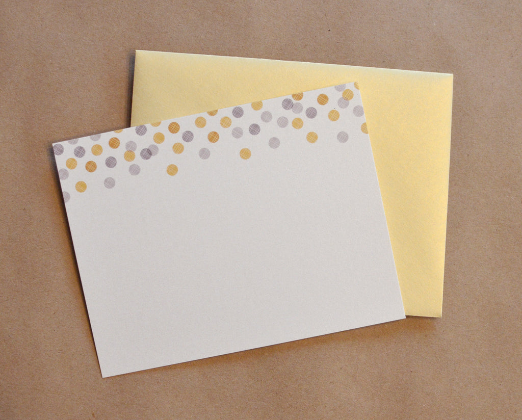 Shimmer Metallic Confetti Silver and Gold Notecard