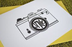 letterpress camera slr smile greeting card