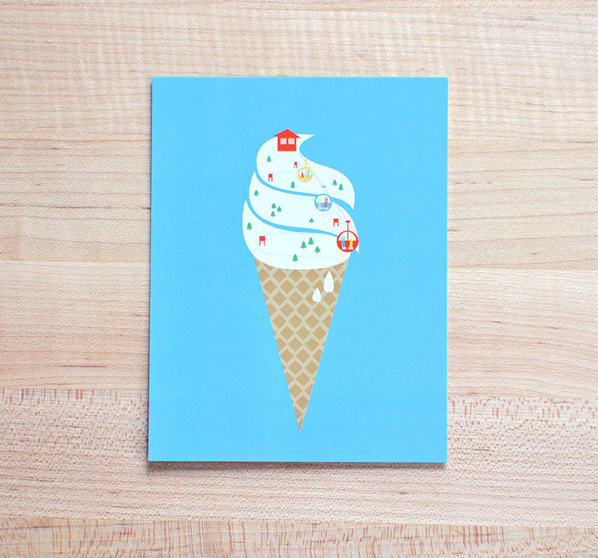 Snow Cone Soft Serve Ski Racing Postcard