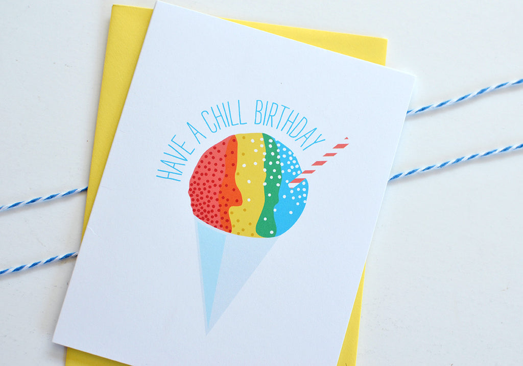 hawaiian rainbow snow cone chill happy birthday card