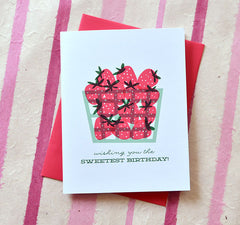 happy birthday strawberry basket greeting cards