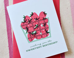 happy birthday strawberry basket greeting card