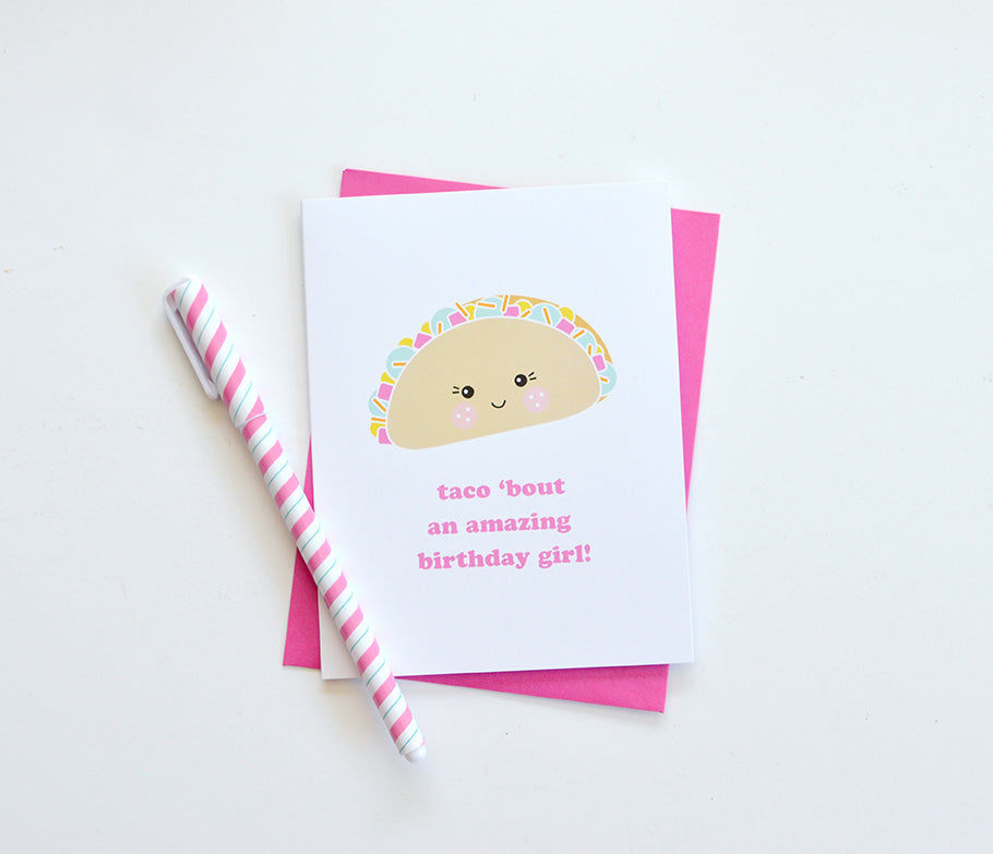 kawaii taco birthday girl card