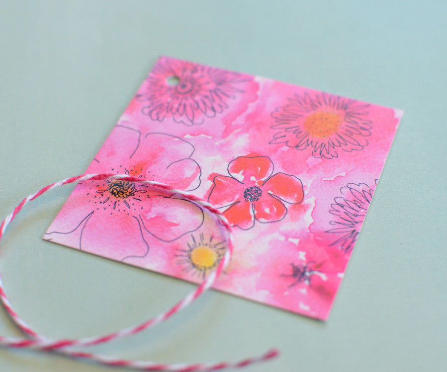 Watercolor floral gift tags