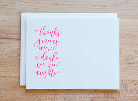 Around the World Thank You Letterpress Note Card