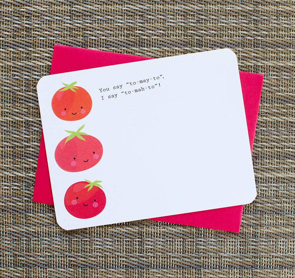 cute kawaii tomato note card