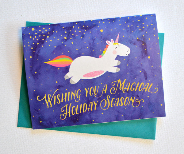 unicorn magical holiday card  u2013 pennie post
