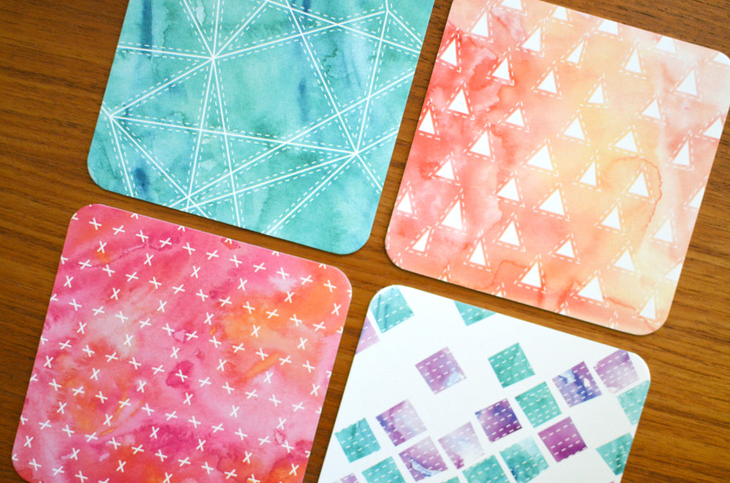 Set of 8 Watercolor Coasters