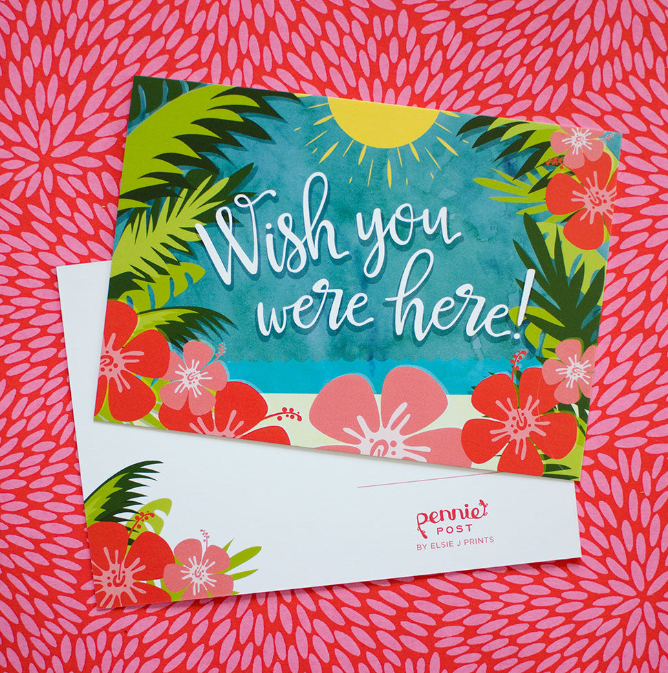wish you were here hawaiian tropical postcards