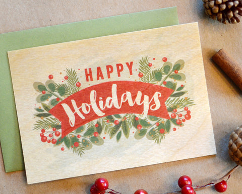 Foliage Wood Flat Holiday Card