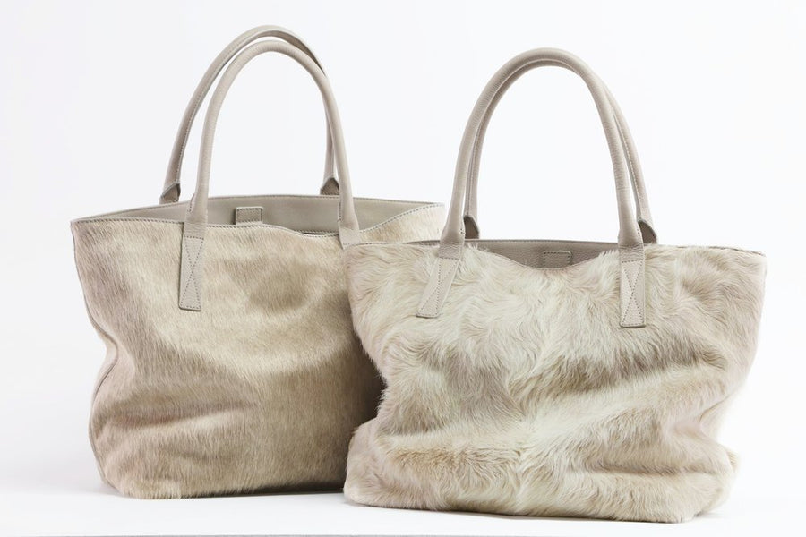Aspen Day Tote in Champagne (Shaggy)