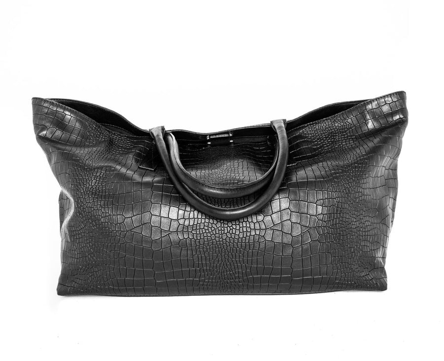 Monaco Weekender in Black Croc - Canvas & Hyde NYC
