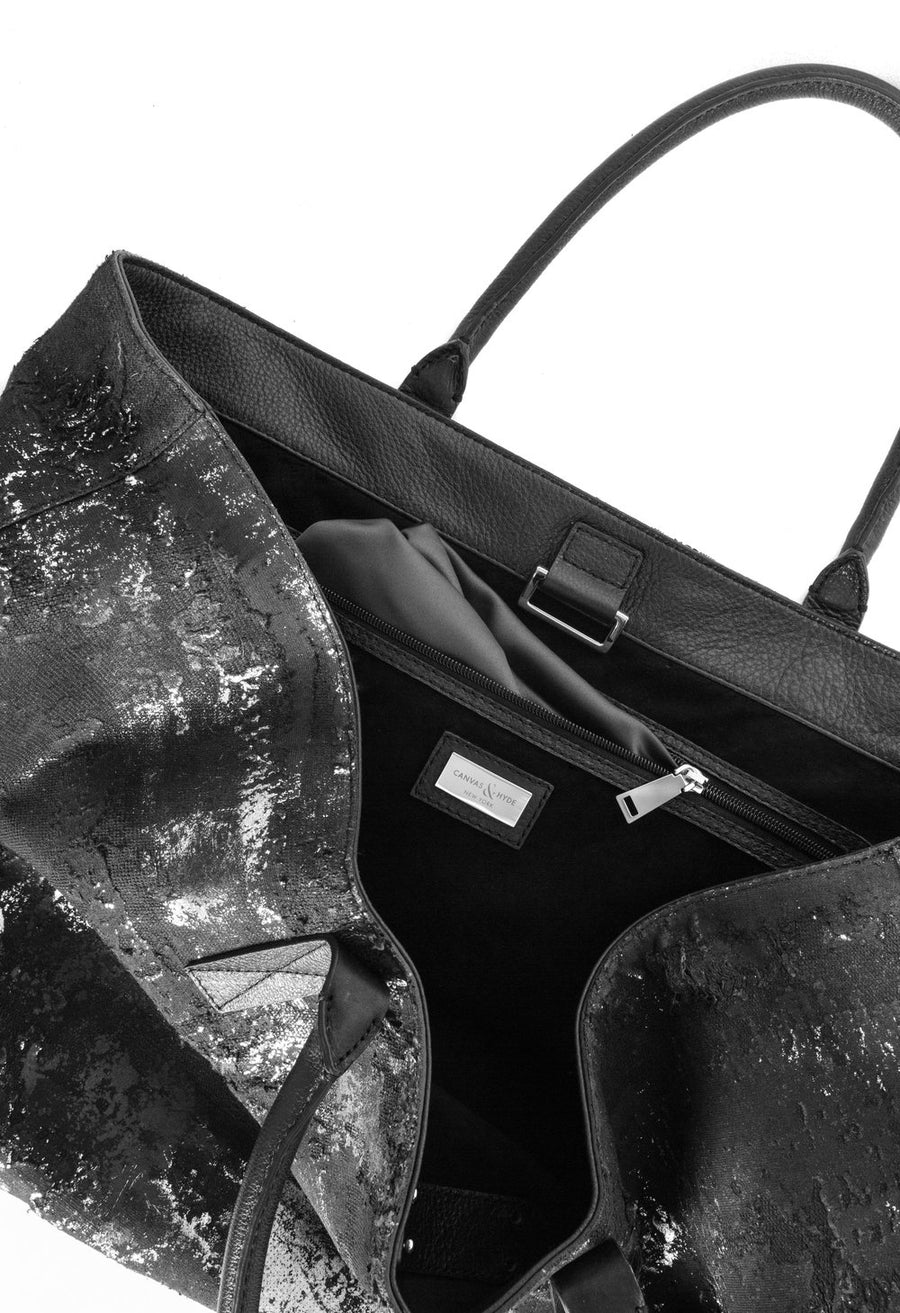 Monaco Weekender in Black Distressed - Canvas & Hyde NYC