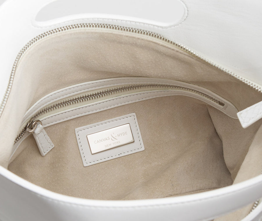 Florentine Folding Clutch in White - Canvas & Hyde NYC