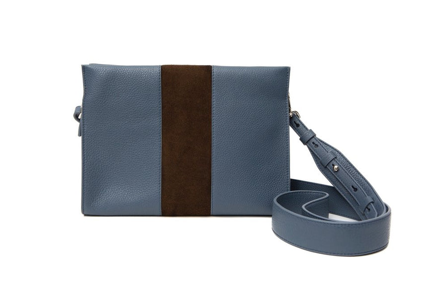 St Tropez Pouchette - Blue w Brown Suede - Canvas & Hyde NYC