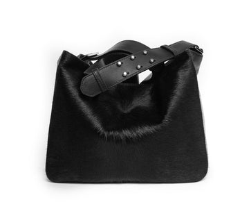 CASSIE Mini Crossbody Black w Black Hair-on - Canvas & Hyde NYC