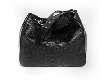 JANELLE Mini Crossbody Black w Black Jumbo Python - Canvas & Hyde NYC