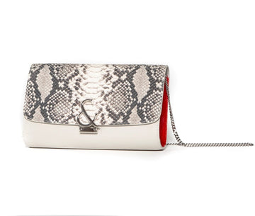Parisienne Clutch - Faux Snake w Amp & Tangerine Sides - Canvas & Hyde NYC