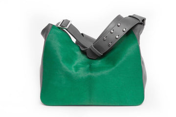 LAURA Mini Crossbody Grey w Emerald Green - Canvas & Hyde NYC