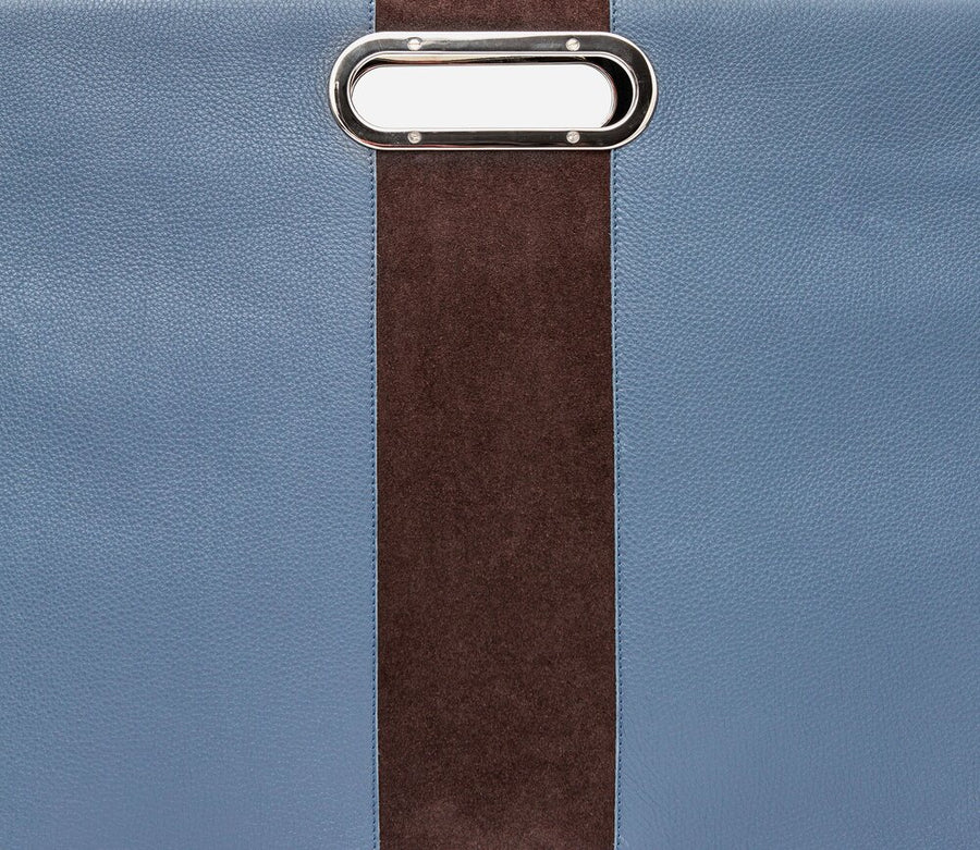 San Francisco Attache - Blue w/ Brown Suede - Canvas & Hyde NYC