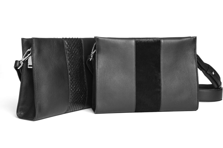 St Tropez Pouchette - Black w Black Pony - Canvas & Hyde NYC