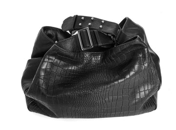 Manhattan Crossbody Messenger in Black Embossed Croc - Canvas & Hyde NYC